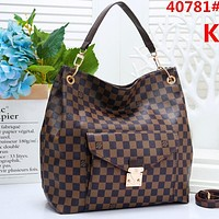Onewel Louis Vuitton Big Bag LV Stacked layers Buckle Bag Women Shopping Bag Leather Crossbody Satchel Shoulder Bag Coffee tartan