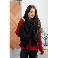 Solid Blanket Scarf- Black