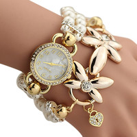 Luxury White Pearl Bracelet Jewelry Quartz Watch