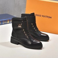 lv louis vuitton trending womens black leather side zip lace up ankle boots shoes high boots 145