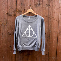 V-DAY SPECIAL - Women's Deathly Hallows American Apparel Tri-Blend Pullover in Heather Grey