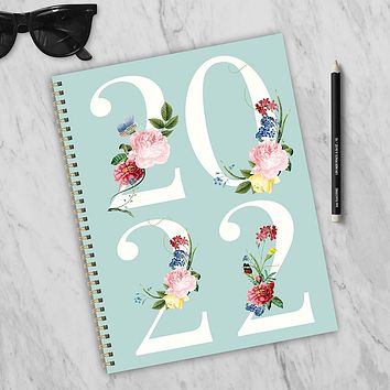 Floral Year Large Weekly Monthly Planner + Coordinating Planning Stickers