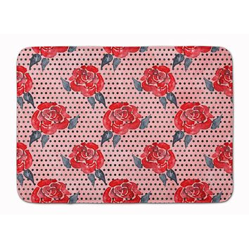 Watercolor Red Roses and Polkadots Machine Washable Memory Foam Mat BB7513RUG