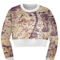 Women's All Over Print World Map Printed Sports Crop Top Fitness Sweatshirt