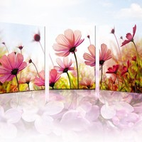 Modern living room decorative painting triptych bedroom paintings restaurant fresco mural painting frame painting pink flowers - hhsweet