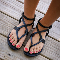 Midnight Swim Black Sands Strappy Sandals