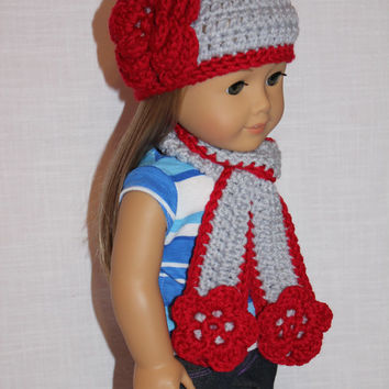 crochet beanie hat with flower, long scarf with flowers, light grey and red, 18 inch doll clothes