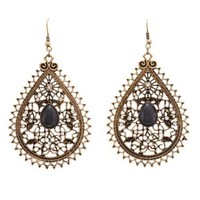 Gold Marled Filigree Dangle Earrings by Charlotte Russe