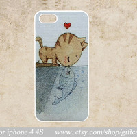 iPhone 4 Case,iPhone 4s Case,iphone case,Cat and Fish,Eco Friendly,Phone Cover,Personalized Cover,iphone case,Hard Plastic Phone Case