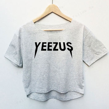 Kanye West Yeezus Hiphop Rapper Tees Crop Top Fashion T-shirt Woman