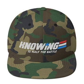 Knowing is Half the Battle Snapback Woodland Camo Hat