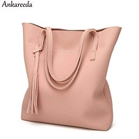 Women Soft PU Leather Tote Bag With Tassel Detailing