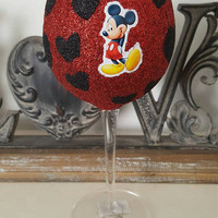 Disney mickey and minnie mouse glitter wine glass