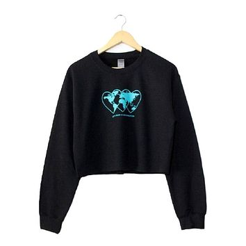 Love Revolution Black Graphic Cropped Crewneck Sweatshirt
