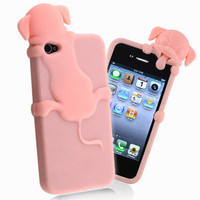 Black Pink Clear Dog Cute Soft Case Cover For iPhone 4 4S 4GS Paw 3D Foot Print