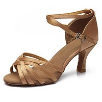 Hot selling Women Professional Dancing Shoes Ballroom Dance Shoes Ladies Latin Dance Shoes heeled about 5CM/7CM
