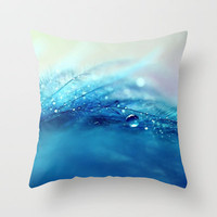 blue feather Throw Pillow by Sylvia Cook Photography