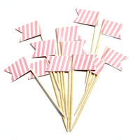 12 Pink and White Stripe Flag Cupcake Toppers - Washi Tape Cupcake Toppers, wedding, engagement, birthday, baby shower, tea party