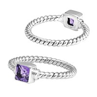 """SR-5366-AM-6"""" Sterling Silver Ring With Amethyst"""