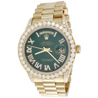 18K Gold 36mm Rolex President Day-Date Diamond Watch w/ Green Dial (18038) - 5.75 CT.