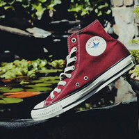 """Converse"" Fashion High tops Wine red Canvas Flats Sneakers Sport Shoes"