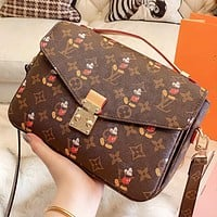 Hipgirls LV & Disney New fashion monogram print leather shoulder bag crossbody bag handbag women