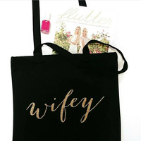 Wifey Calligraphy Canvas Tote Bag