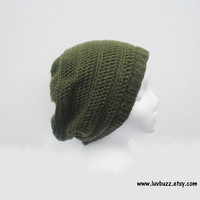 Olive Green Crochet Slouchy Tam Beanie Hat, Unisex, MADE TO ORDER.