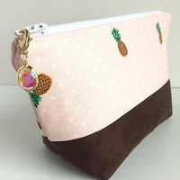 Small Makeup Bag, Pineapple Pouch, Pineapple Cosmetic Bag, Faux Suede Pouch, Pencil Pouch