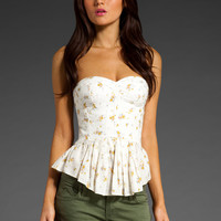 Rebecca Taylor Vintage Rose Summer Day Bustier in Cream Yellow from REVOLVEclothing.com