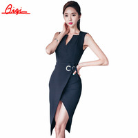 Summer Elegant Women Business Dress V-neck sexy split black OL Office Work Tunic Bodycon Sheath Casual Pencil Dresses