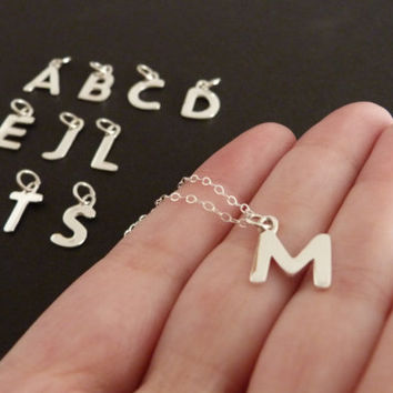 Dainty Initial Charm Necklace in Sterling Silver