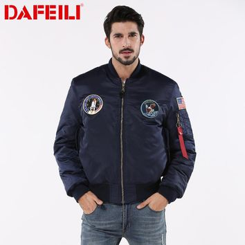 2018 Thick MA-1 winter hip hop streetwear bomber flight ma-1 waterproof air force american flag college couple jacket for men