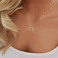 New Fashion Double Horn Necklace Crescent Moon Necklace Boho Jewelry Minimal Girlfriend Gift   171213