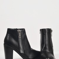 Ridged Sole Zippered Ankle Boots