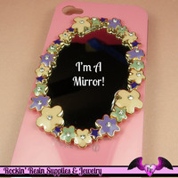 Pink and Purple FLOWER MIRROR with Crystals Decoden Cabochon Cellphone Decoration
