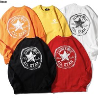 Converse hot seller of fashionable lovers' back printed round-collar long-sleeve hoodies