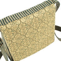 Boho crossbody purse - gold & green small purse with long strap - shoulder purse with flap - OOAK bag handmade from recycled fabric