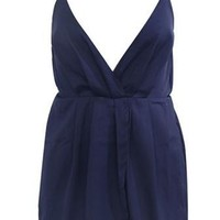 Boardwalk Bash Navy Blue Spaghetti Strap Sleeveless Plunge V Neck Cross Faux Wrap Pleat Romper Playsuit - Sold Out