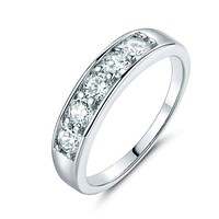 J'adore Five Stone 4mm Channel Set 1.25 ct CZ Anniversary & Wedding Band Ring 14K White Gold  for Women
