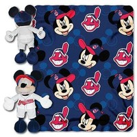"""CLEVELAND INDIANS 40""""X50"""" DISNEY MICKEY MOUSE HUGGER PILLOW & THROW BLANKET SET"""