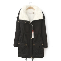 Faux Collar Double Pocket Fall Coat