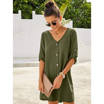 Button Through Roll Up Sleeve Shirt Dress