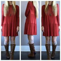 A Babydoll Tiered Dress in Rust