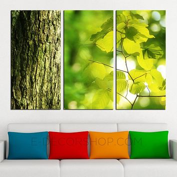 Tree Green Leaves Canvas ART Print Ready to Hang 3 Panels Stretched on Deep 3cm Frame