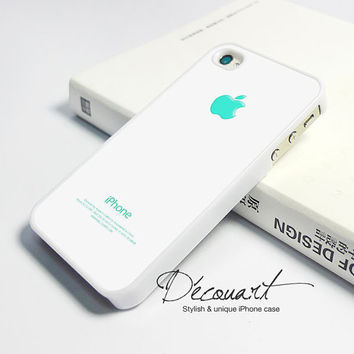 iPhone 4 case, iPhone 4s case, case for iPhone 4, mint teal apple logo W232