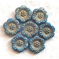 Lot of 5 large Czech pressed glass flower beads, 18mm opaque light sapphire blue with gold accents both sides, 52101