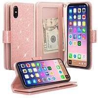 Apple iPhone XS Max Case, Apple A1921, [Wrist Strap] Glitter Faux Leather Flip [Kickstand Feature] Protective Wallet Case Clutch - Rose Gold
