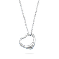 Floating Heart Necklace - Classic Touch Modern Style Shining Sterling Silver Necklace