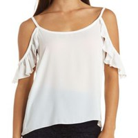 Sheer Chiffon Cold Shoulder Ruffle Top by Charlotte Russe